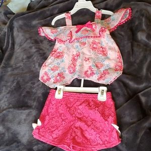 Pink flower top and pink short set